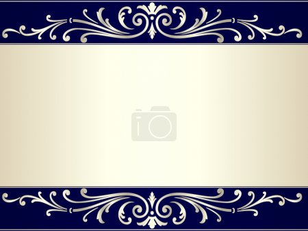 Illustration for Elegant and stylish vintage background with scrolls and space for your text. Use of gradients and global color swatches. Artwork grouped and layered. - Royalty Free Image
