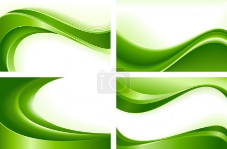 Illustration for Green wave templates. Use of blends, clipping masks, linear and radial gradients, global color swatches. Artwork grouped and layered. - Royalty Free Image