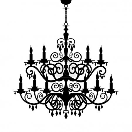 Baroque decorative chandelier silhouette isolated ...