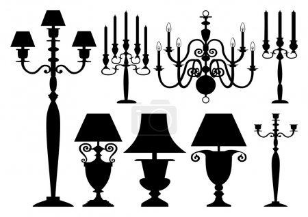 Set of antique lighting silhouettes