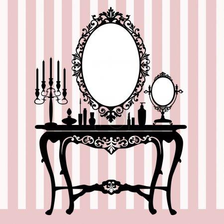 Retro dressing console, candelabra and mirror