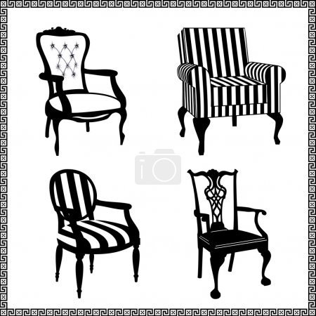 Illustration for Collection of different chairs, black furniture silhouettes - Royalty Free Image