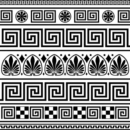 Photo for Set of repeating black greek borders or ornaments on white background - Royalty Free Image