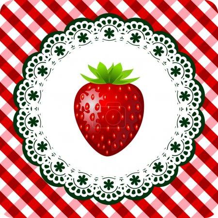 Illustration pour Illustration de fraise rouge sur armature dentelle et fond blanc rouge damier - image libre de droit
