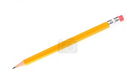 Photo for A picture of a new sharp yellow pencil over white background - Royalty Free Image