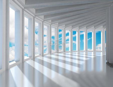 Photo pour Architecture intérieure moderne vide et ciel bleu - image libre de droit