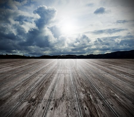 Photo for Background of old wood floor and cloudy sky - Royalty Free Image
