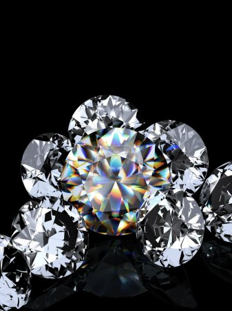Photo for Group of diamonds on black background. Beautiful sparkling diamond on a light reflective surface. High quality 3d render with. - Royalty Free Image