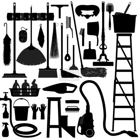 Foto de Un conjunto de hogar limpieza y equipo de lavado - Imagen libre de derechos