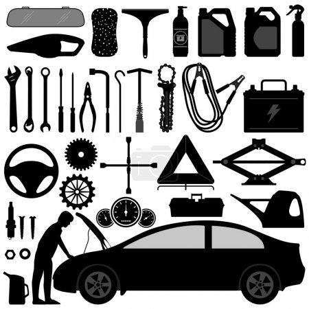 Illustration for A set of car tools and equipments. - Royalty Free Image