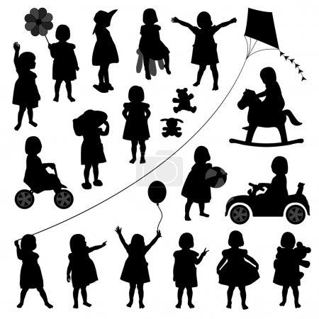 Illustration pour Un ensemble d'illustrations pour enfants jouant joyeusement . - image libre de droit
