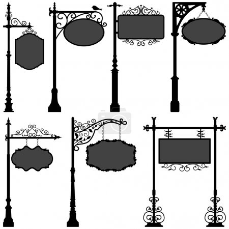 Illustration for A set of street pole with frame. - Royalty Free Image