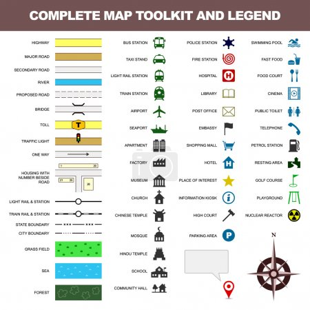 Photo for A complete set of map toolkit and legend. - Royalty Free Image
