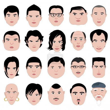 Illustration for A set of man faces shape with different age. - Royalty Free Image