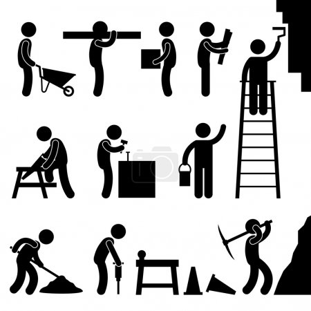 Illustration for A set of human figure working in a construction site. - Royalty Free Image
