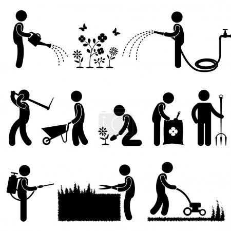 Gardening Work Plant Flower Grass Pictogram Icon Symbol