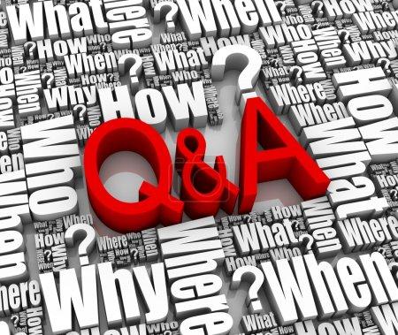 Photo pour Groupe de mots 3D liés aux questions et réponses. Partie d'une série . - image libre de droit