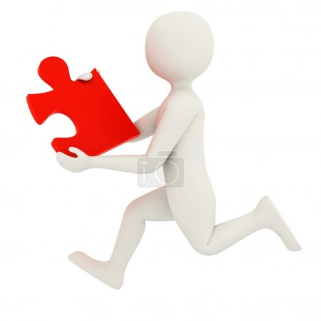 Photo for 3d man running with single red puzzle piece - Royalty Free Image