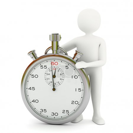 Photo for White 3d man with big stopwatch showing 1 minute - Royalty Free Image