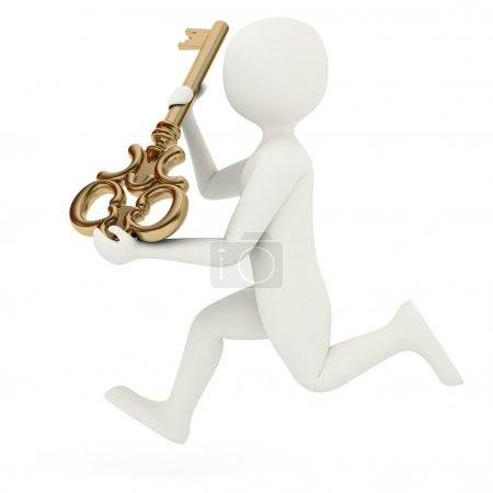 Photo for White 3d man running with old style big golden key - Royalty Free Image