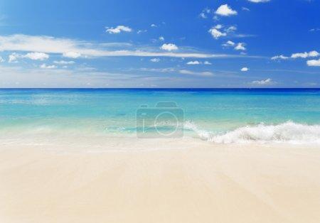 Photo pour Plage de sable blanc tropical et ciel bleu . - image libre de droit