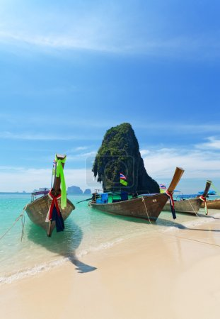 Photo for Thai traditional boats on Railay Beach, Krabi. - Royalty Free Image
