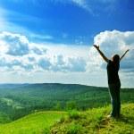 Young woman enjoying the fresh air....