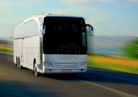 Photo for White bus on the road - Royalty Free Image