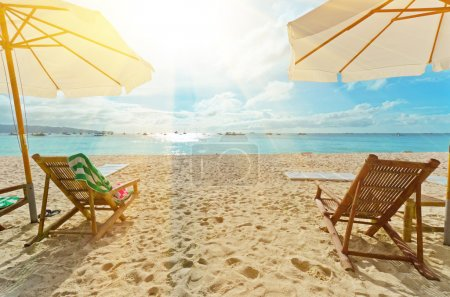 Photo for Chairs on white sand beach. - Royalty Free Image