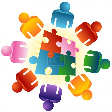 Illustration for An image of a roundtable puzzle solving team - Royalty Free Image