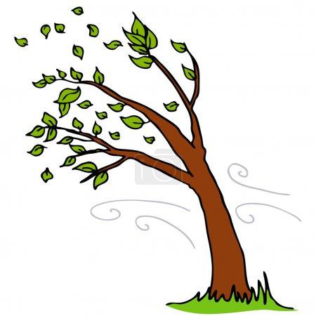 Illustration pour Une image d'un vent soufflant des feuilles d'un arbre. - image libre de droit