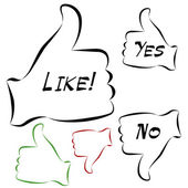 An image of a elelgant thumbs up and down approval icons