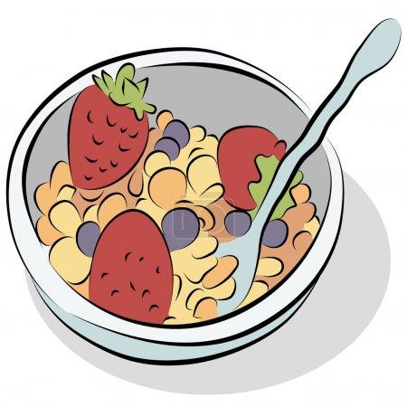 Illustration pour Une image d'un bol de céréales avec des fraises et des bleuets ligne dessin . - image libre de droit
