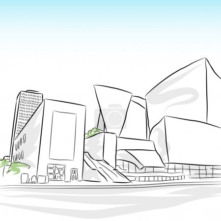 Illustration for An image of a downtown los angeles skyline sketch. - Royalty Free Image