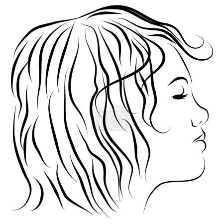 Illustration pour Une image d'un dessin de ligne de profil de tête de femmes. - image libre de droit