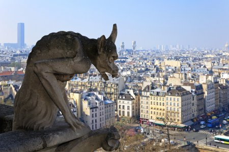 Famous chimera of Notre-Dame overlooking Paris.