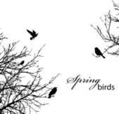 Silhouette of trees and birds copyspace