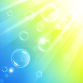Aery abstract background of warm sun rays and bubbles