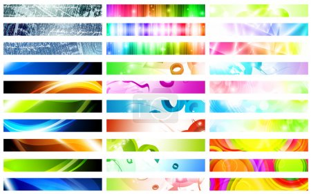 Illustration for Mega pack of bright multicolored web banner set over white - Royalty Free Image