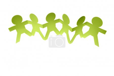 Group of holding hands on plain background
