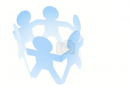 Team of in a circle on plain background