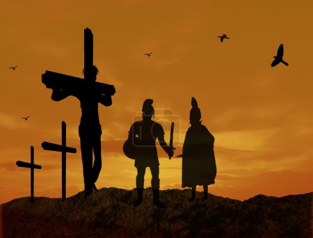 Photo for Crucifixion of Jesus Christ with warriors silhouette during sunset - Royalty Free Image