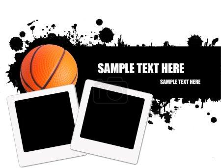 Ilustración de Fondo de pelota de baloncesto Grunge con fotos instantáneas, ilustración vectorial - Imagen libre de derechos