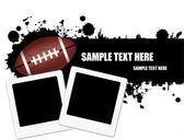 Grunge american football ball background with instant photos vector illustration