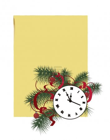 Christmas composition clock and fir branch