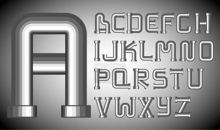 Illustration pour Alphabet entonnoirs vectoriels en métal sur fond gris - image libre de droit