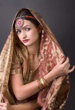 Photo for Beautiful brunette portrait with traditionl costume. Indian style - Royalty Free Image