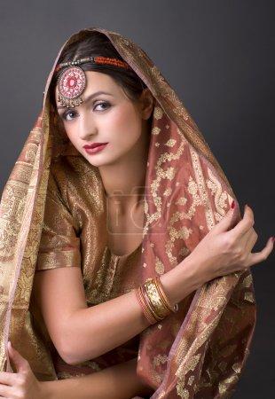Photo pour Beau portrait de brune avec costume traditionl. Style indien - image libre de droit