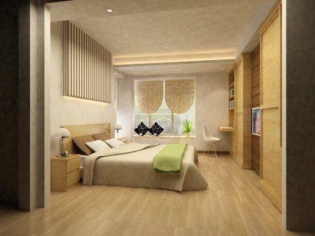 Photo pour Rendu de l'intérieur de la maison axé sur la chambre à coucher - image libre de droit