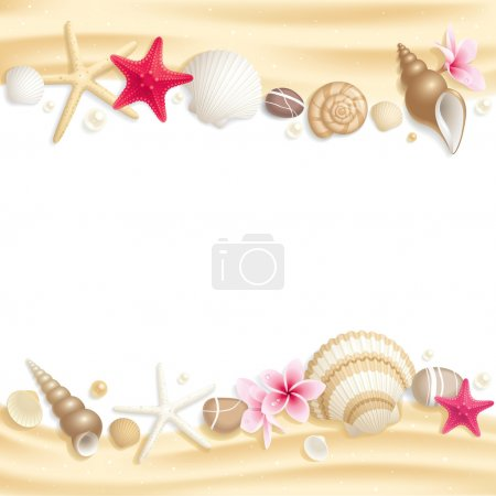 Illustration for Background with seashells and starfishes making a frame for any text - Royalty Free Image